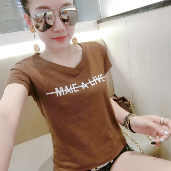 Korean-style bamboo cotton female short-sleeved Slimming effect Top v-neck t-shirt (Coffee color)