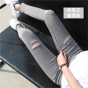 Korean-style black female outerwear long pants leggings (Washed gray three with Holes)