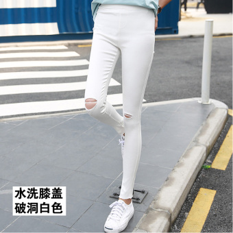 Korean-style black female outerwear long pants leggings (Washed white knee with Holes)