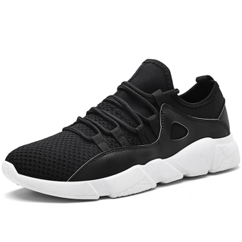 Korean-style breathable mesh running shoes breathable men's shoes (3019 black white)