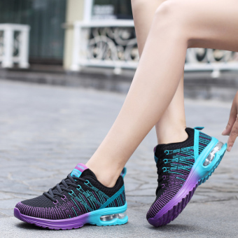 Korean-style breathable network autumn shoes mesh sports casual shoes (861 black purple)