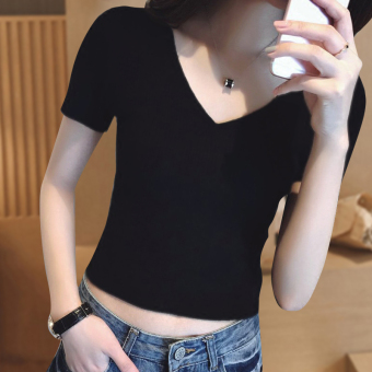 Korean-style cotton black bare midriff short sleeved v-neck t-shirt base shirt (Black [v-neck])