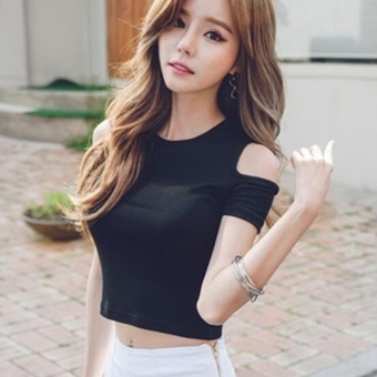 Korean-style cotton black female bottoming shirt Top (Black)