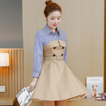 Korean-style cotton female autumn skirt Slim fit striped shirt (Casual color)