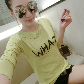 Korean-style cotton New style Short sleeve T-shirt (Yellow gold foil Print)