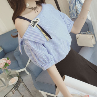Korean-style cotton student Short sleeve Top loose short-sleeved t-shirt (Blue)