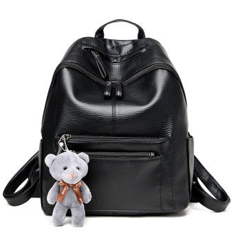 Korean-style female bag backpack (Black to send Bear)