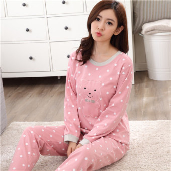 Korean-style female long-sleeved cotton Plus-sized home clothes Qiudong pajamas (Long sleeve dotted embroidered bear)