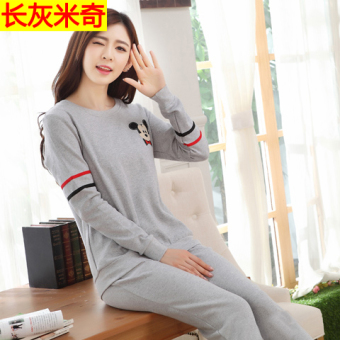 Korean-style female long-sleeved cotton Plus-sized home clothes Qiudong pajamas (Long sleeve gray Mickey)
