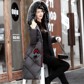 Korean-style female mid-length Slim fit down padded winter jacket (Gray)