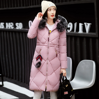 Korean-style female mid-length Slim fit down padded winter jacket (Pink)