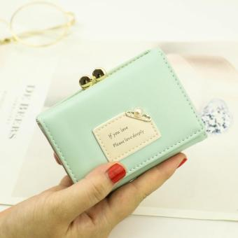 Korean-style female New style student small wallet women's wallet (Jade green)