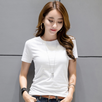 Korean-style female short-sleeved New style slim fit bottoming shirt T-shirt (White)