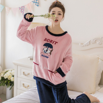 Korean-style flannel women's Autumn home clothes coral velvet pajamas (DY umbrella)
