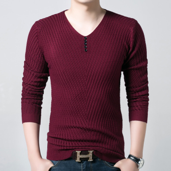 Korean-style knitted Slim fit V-neck base shirt T-shirt (Not Plus velvet red)