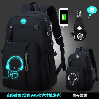 Korean-style large capacity high junior high school travel bag backpack (8828 charging music black with chest pack)