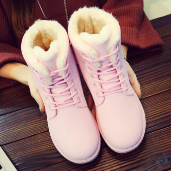 Korean-style leather New style student cotton-padded snowfield boots (Pink)