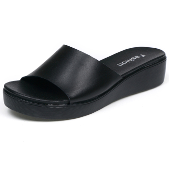 Korean-style leather outerwear flat sandals and slippers thick bottomed slippers (Black)