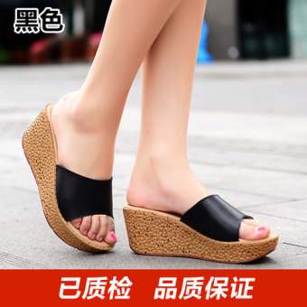 Korean-style leather women's summer women's slippers slanted heel sandals shoes (Black)