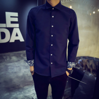 Korean-style long-sleeved Slim fit business white shirt men's shirt (Dark blue color)