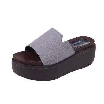 Korean-style matte leather women's muffin bottom drag sandals slanted heel slippers (Gray (suede))