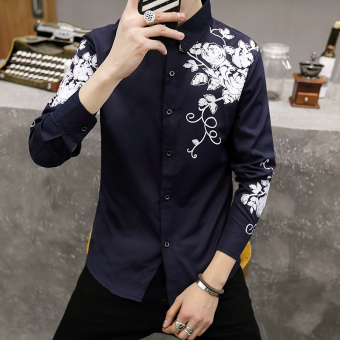 Korean-style men long-sleeved Slim fit men's shirt Printed shirt (8838 dark blue color)