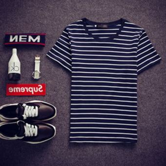 Korean-style men navy-striped shirt summer short sleeved t-shirt (Black striped)