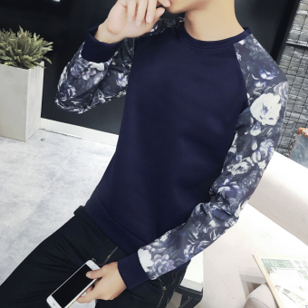Korean-style men round neck pullover hoodie men's hoodie (Sleeve-dark blue color) (Sleeve-dark blue color)