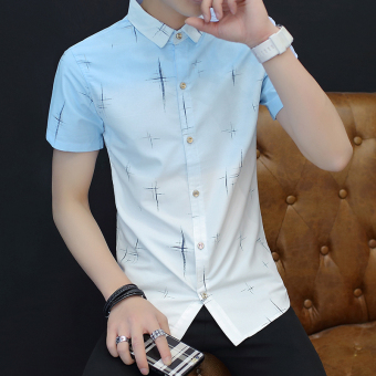Korean-style men's short sleeve Slim fit shirt New style shirt (833 blue)