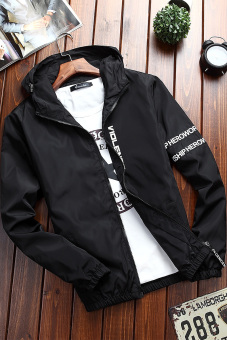 Korean-style men's Slim fit Teenager jacket casual jacket (Black--067)