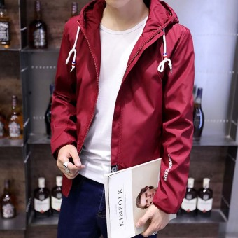Korean-style men's student Teenager Slim fit hooded jacket (6911 wine red)