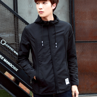 Korean-style men's student Teenager Slim fit hooded jacket (Black)