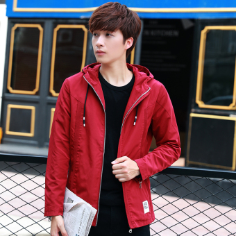 Korean-style men's student Teenager Slim fit hooded jacket (Wine red color)