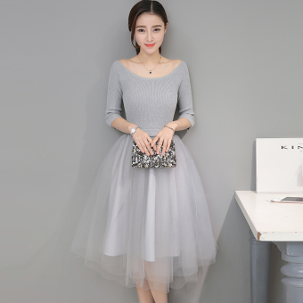 Korean-style mesh female spring Tutu skirt knit dress