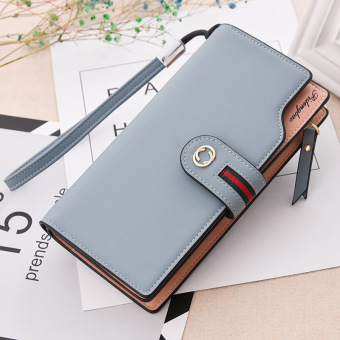 Korean-style multi-functional large capacity hook clutch bag New style women's wallet (Gray blue)