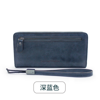 Korean-style New style female student leather wallet (Dark blue color)