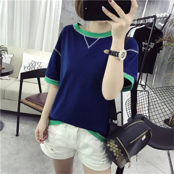 Korean-style New style LOOESN short sleeved t-shirt female Top T-shirt (Navy Blue)