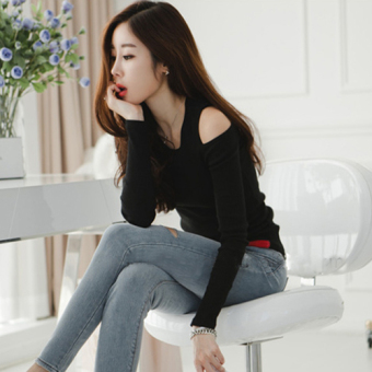 Korean-style New style off-the-shoulder long-sleeved t-shirt (Black)