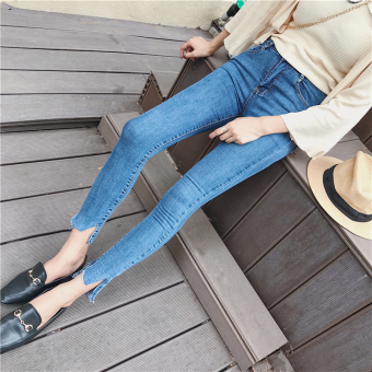 Korean-style New style Slim fit stretch pencil pants jeans (Blue)