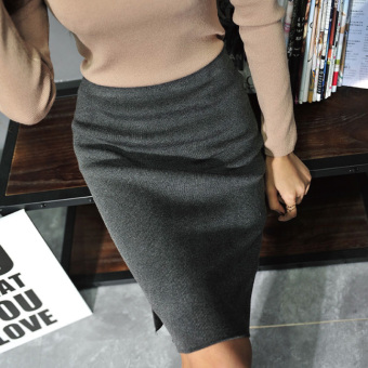 Korean-style New style women high-waisted skirt (Gray) (Gray)