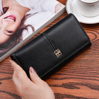 Korean-style New style women long clutch bag women's wallet (Black (to send gift box packaging))