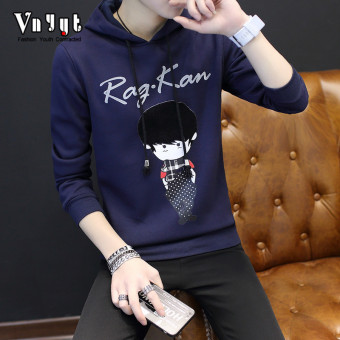 Korean-style Plus velvet male men's pullover hooded hoodie T-shirt (Dark blue color)