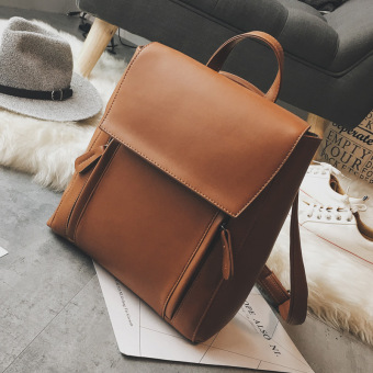 Korean-style PU leather backpack women's bag (Brown)