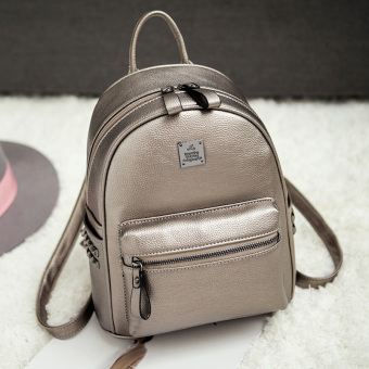 Korean-style PU Leather female mini small bag backpack (Casual gold)