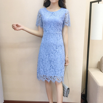 Korean-style red female New style dress summer dress (Blue)