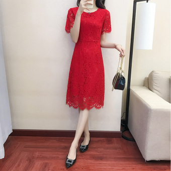 Korean-style red female New style dress summer dress (Red)