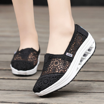 Korean-style sets foot heavy-bottomed a muffin shoes shook his shoes (Soft bottom lace black)