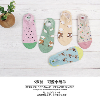 Korean-style silicone hidden spring and summer socks women's socks (5 double loaded cute sheep)