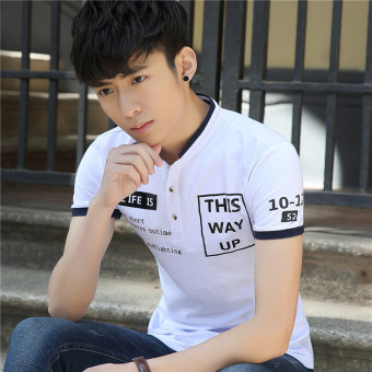 Korean-style Slim fit business Fold-down collar bottoming shirt T-shirt (9960 white)