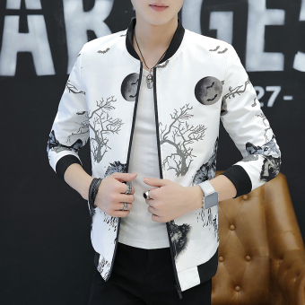 Korean-style Slim fit male student handsome jacket autumn jacket (Wolf head white)